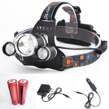Led phare 3 * T6 6000lm, Cree xm - l T6 LED phares tête lampe de vélo lumières extérieures + 2 * 18650 batterie + chargeur + chargeur de voiture(China (Mainland))