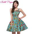 2017 Vintage 50s Dresses Retro Swing Pin Up Floral Rockabilly Dress Abendkleider Spaghetti Strap Design Women