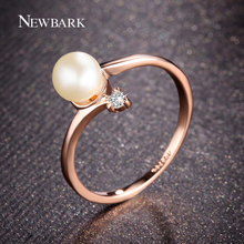 NEWBARK Fashion 18k Rose Gold Plated 1Pcs Simulated Pearl And 1pcs Tiny Rhinestones Accent Bypass Rings For Women(China (Mainland))