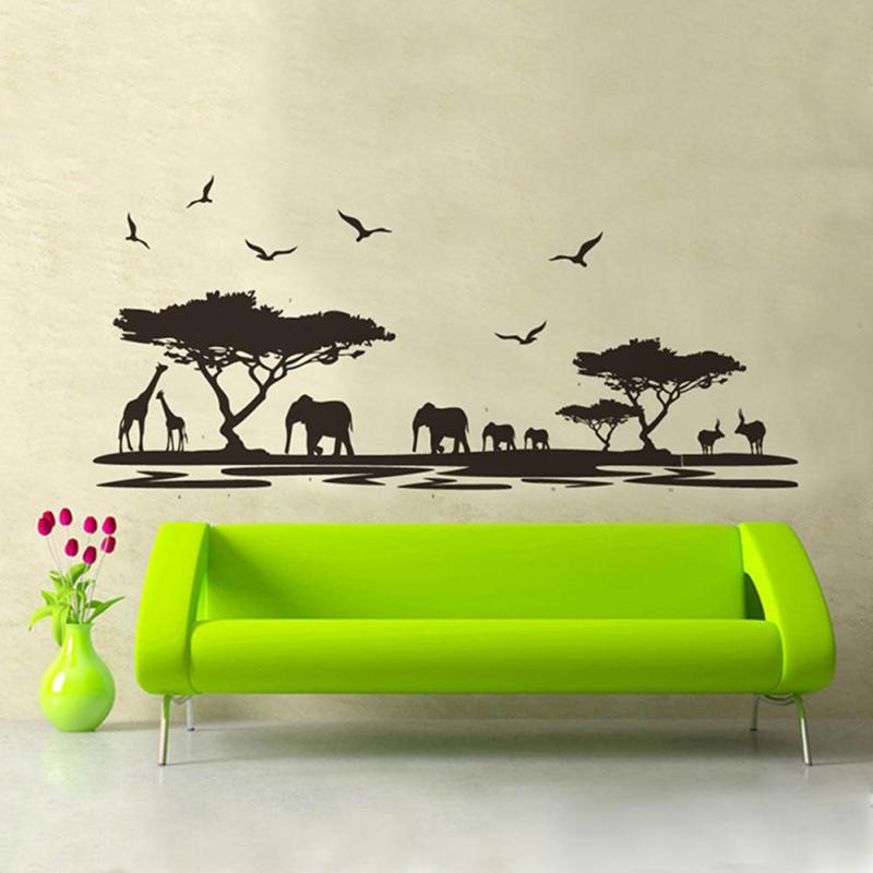 Decorative stickers <font><b>African</b></font> Animals Wall Sticker Mural <font><b>Home</b></font> Decal Removable Art Vinyl Room <font><b>Decor</b></font> DIY