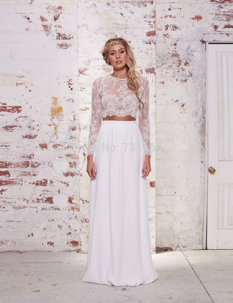 Cheap Chiffon Two Pieces Boho Wedding Dress 2015 Long Sleeve Lace Beach Wedding Dress Vestido De