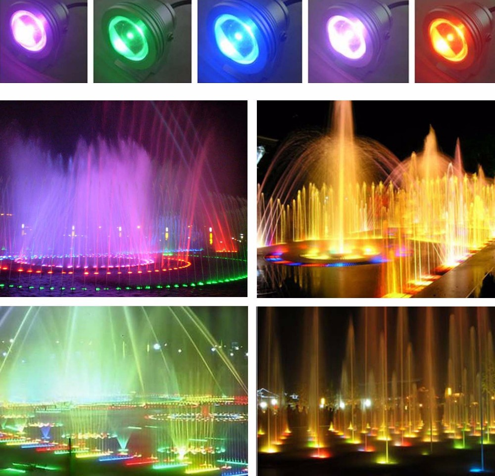 RGB LED Underwater Fountain Light 10W 1000LM DC12V Waterproof IP68  LED Swimming Pool Pond Fish Tank Aquarium  Lamps