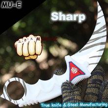 MUKASZ white Cobweb CS GO Counter Strike Karambit Knife Neck Kniv with Sheath Tiger Fade Tooth game Knife Factory Wholesale MU-E(China (Mainland))