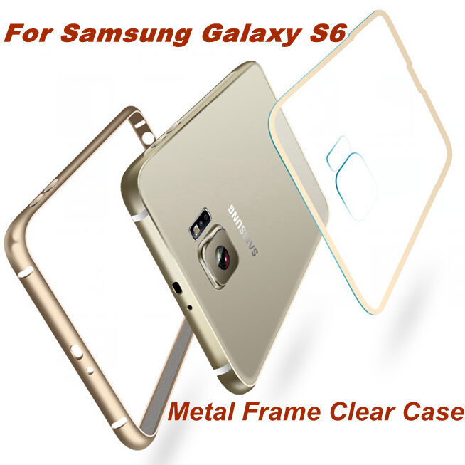 For Galaxy S6 Metal Case Aluminum Frame + Clear PC Back Cover For Samsung S6 G9200 G920A G920F Super Ultra Thin Slim Light Shell(China (Mainland))