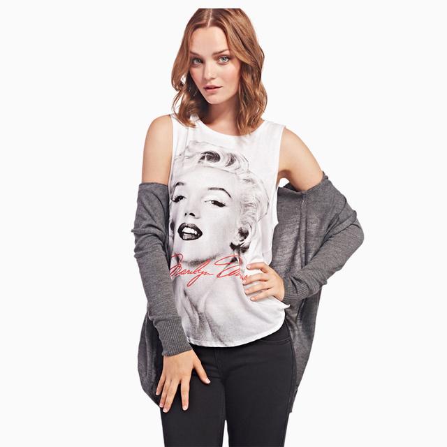 Горячий новый женщины сексуальные футболки рукавов монро печать тройники популярные проекты топы хлопка футболки леди возглавляет Tumblr