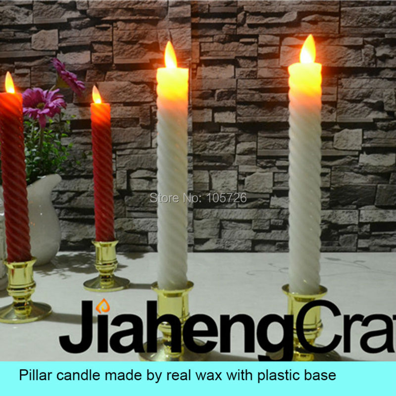 flameless LED pillar wax candle with moving flame wick light unique thread finishing for church hotel theater spa party using(China (Mainland))