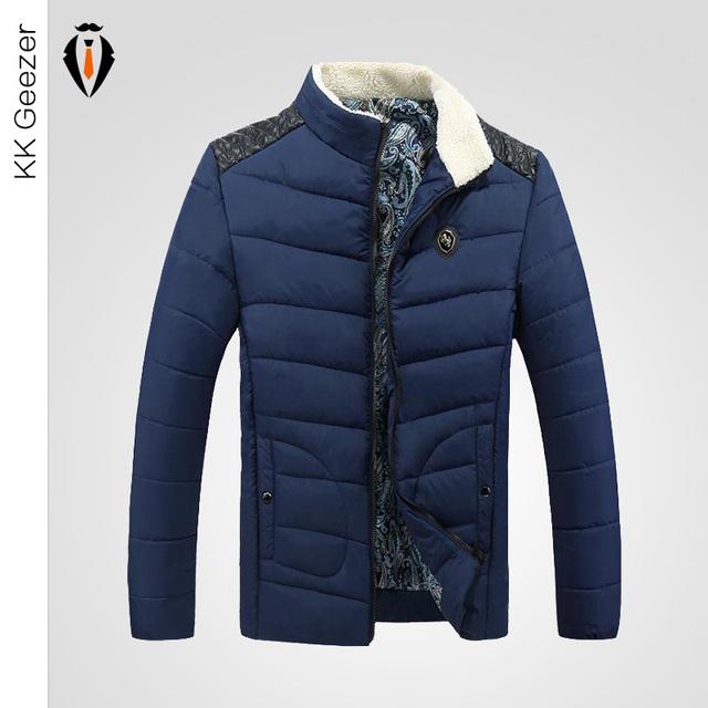 Толстые теплые мужчины зимнее пальто 2015 мода вниз пальто мужчины парка верхняя ...