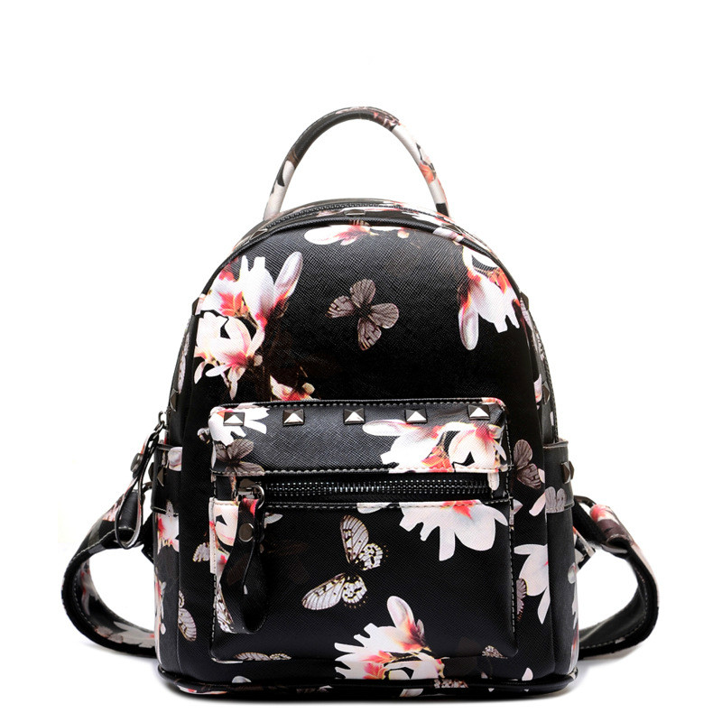 Women Backpacks Hot Sale Fashion High Quality Floral Printing PU Leather Backpacks For Girls Butterfly Bags B176D5<br><br>Aliexpress