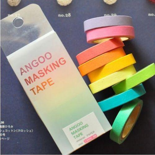 NEW 10x Rainbow Washi Sticky Paper Masking Adhesive Scrapbooking Decorative DIY Tape(China (Mainland))