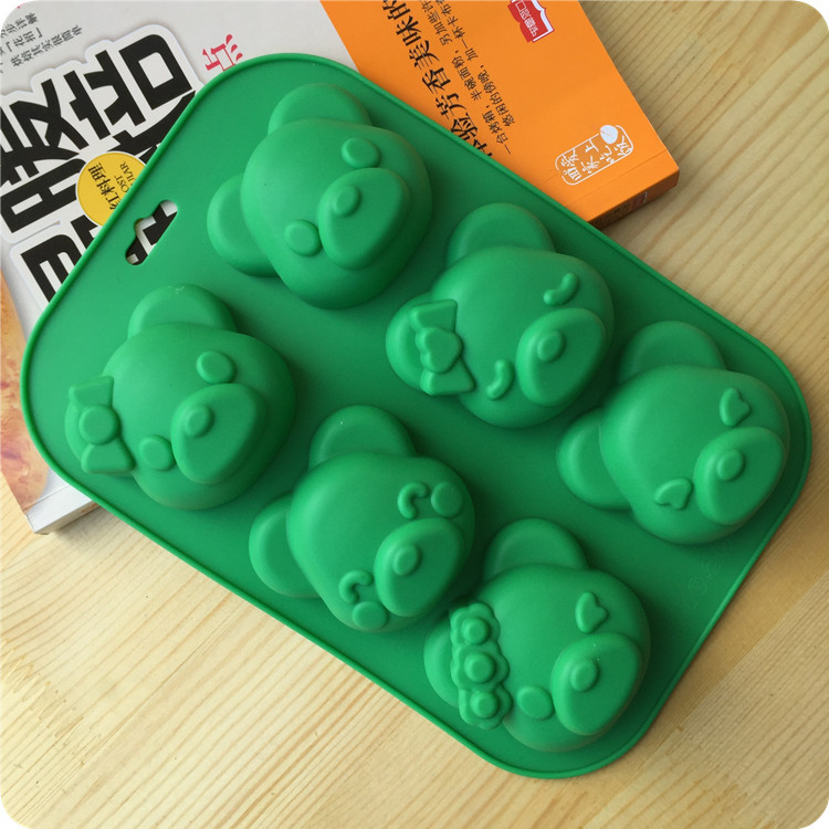 6 Lattices 3D Bear Animal DIY Silicone Cake Mold Pudding ...