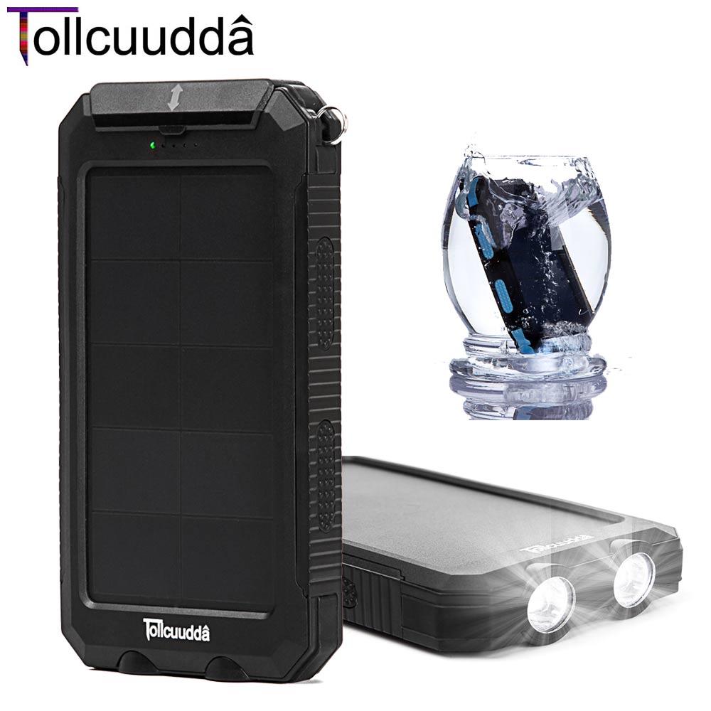 Tollcuudda Solar Poverbank Mobile Phone Power Bank Portable External Charger Cellphone Battery 10000mah LED+SOS Super Waterproof(China (Mainland))