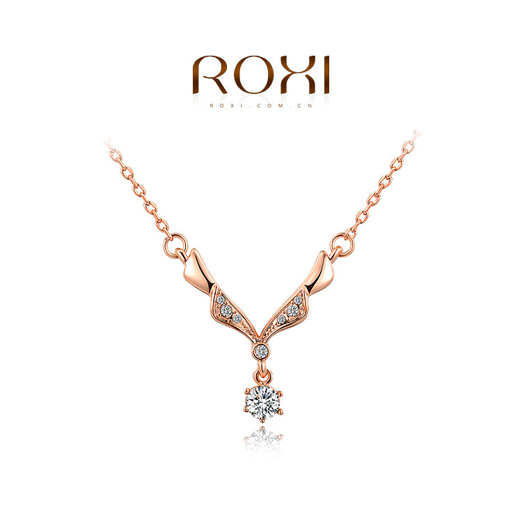 ROXI 2015 New Fashion Jewelry Rose Gold Plated Statement Romantic Unique Necklace Women Party Wedding Free Shipping(China (Mainland))