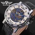 Winner Men s Watch Mechanical Hand wind Fashion Leather Strap Crystal Analog Casual Wristwatch Color White