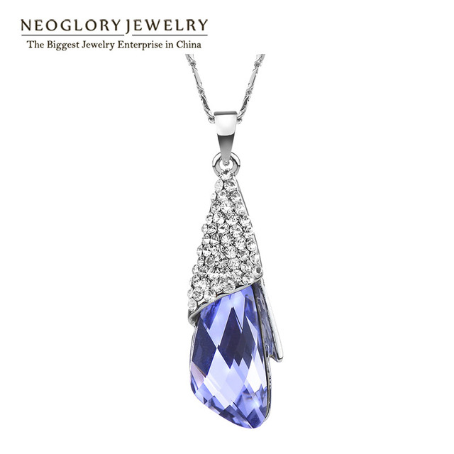 Neoglory Big Austrian Crystal Necklaces Teen Girls Fashion For Birthday Gifts Charm Jewelry 2016 New Brand Statement Hot JS9