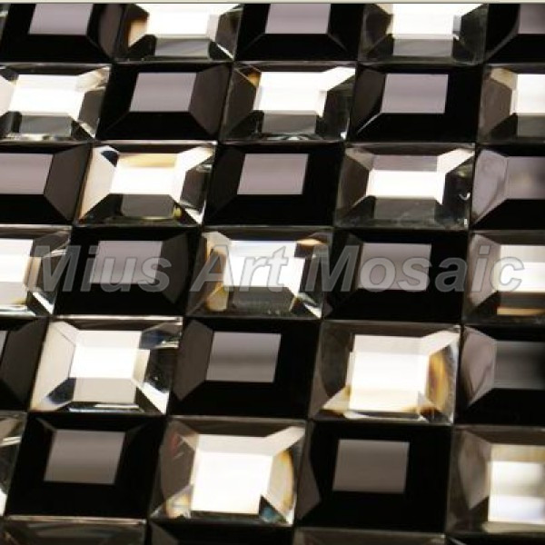 Glossy  pure white and black color mix 5 faced diamond mirror glass mosaic tile A41012<br>