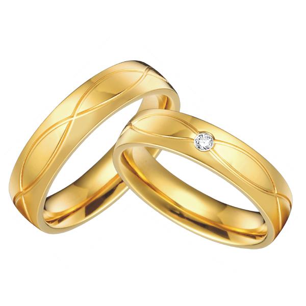 1 pair 18k gold plated custom alliance titanium wedding