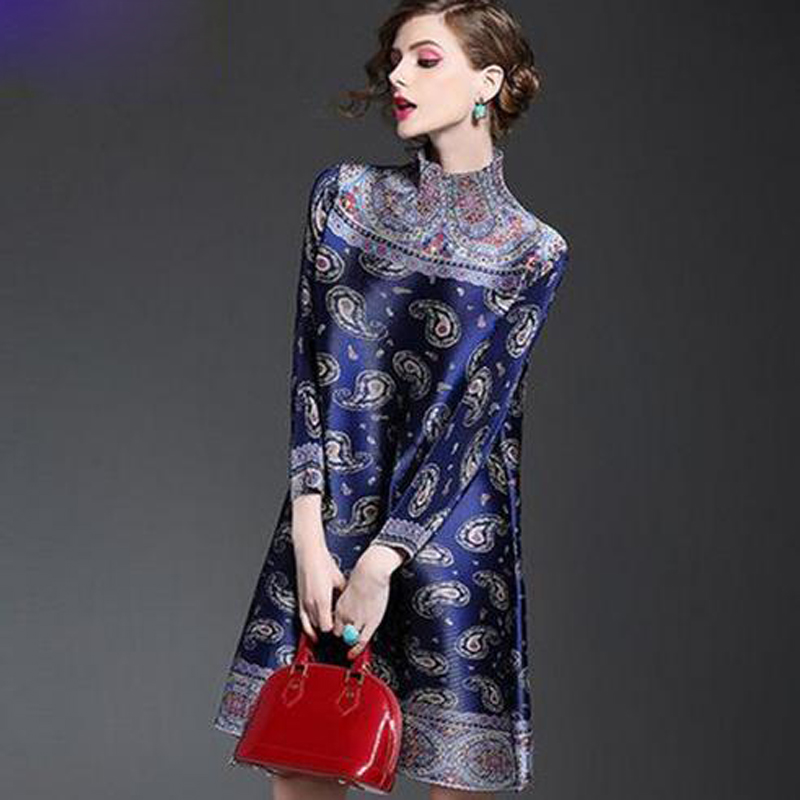 2016 New Vintage Spring and Summer Women Long Sleeved Loose Casual Print Nylon Party Vestidos Mini Dress plus size(China (Mainland))