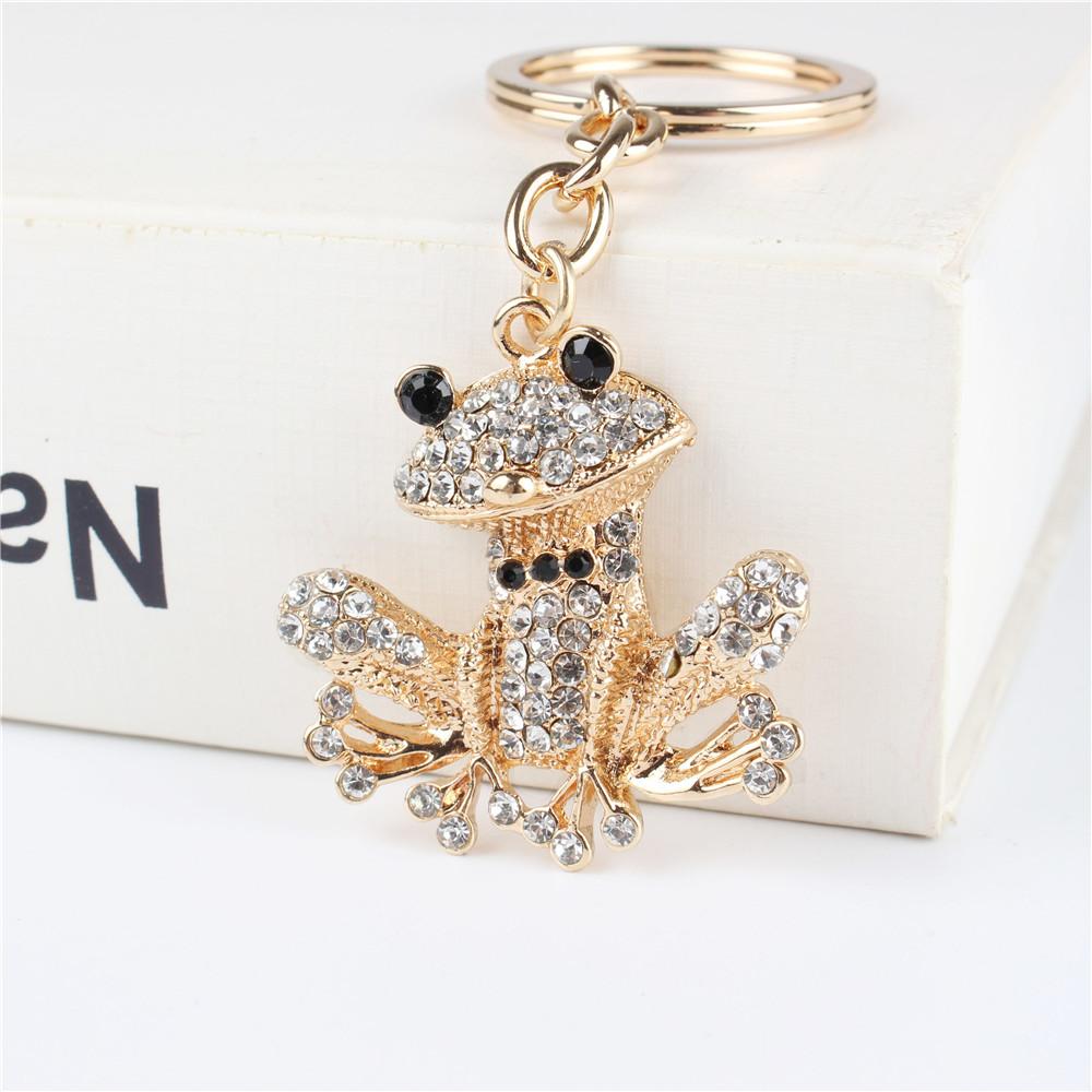 Lovely Frog Pendant Charm Rhinestone Crystal Purse Bag Keyring Key Chain Accessories Wedding Party Holder Keyfob Gift(China (Mainland))