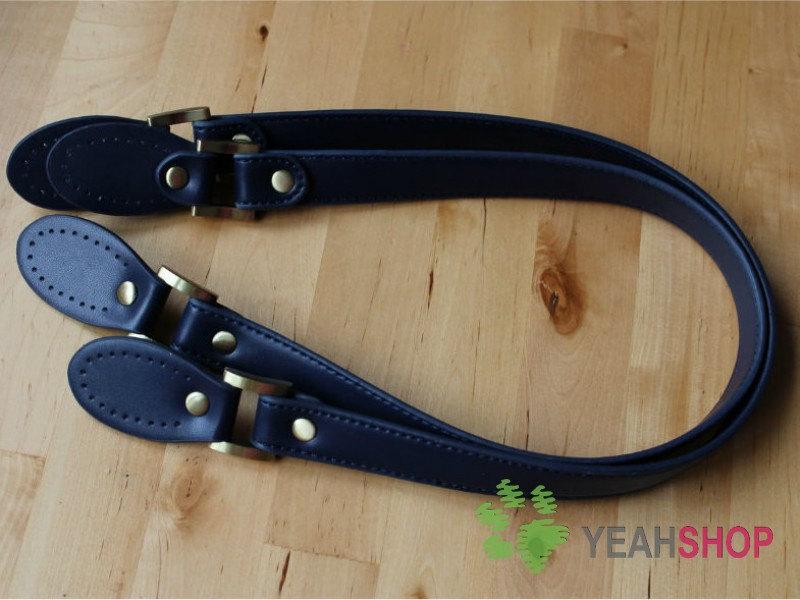 Imitation Leather Bag Handles / Handbag Handles with Oval Sewing Parts - NAVY BLUE - 62cm/ 24 inch - HD47(China (Mainland))