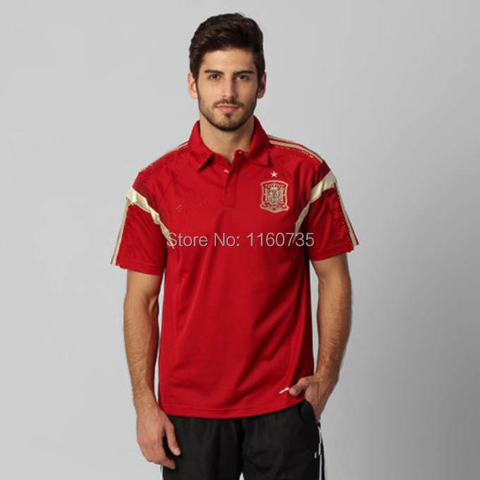 Free shipping 2014/15 World Cup Spain Wine red POLO shirts top Thailand quality embroidery logo 2014 Spain soccer polo shirts(China (Mainland))