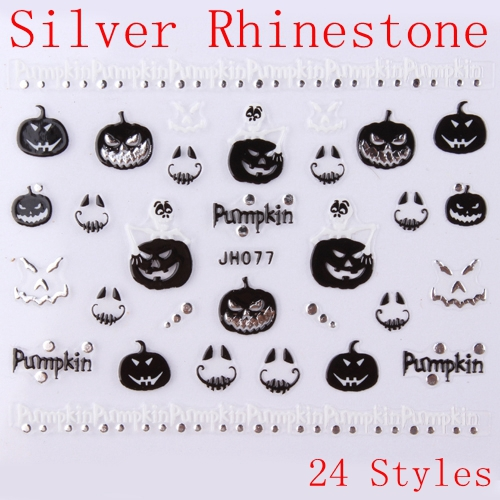 Nail Art 3D Sticker Silver Rhinestone Decal Black White Halloween Pumpkin Skull Cat Free Shipping(China (Mainland))