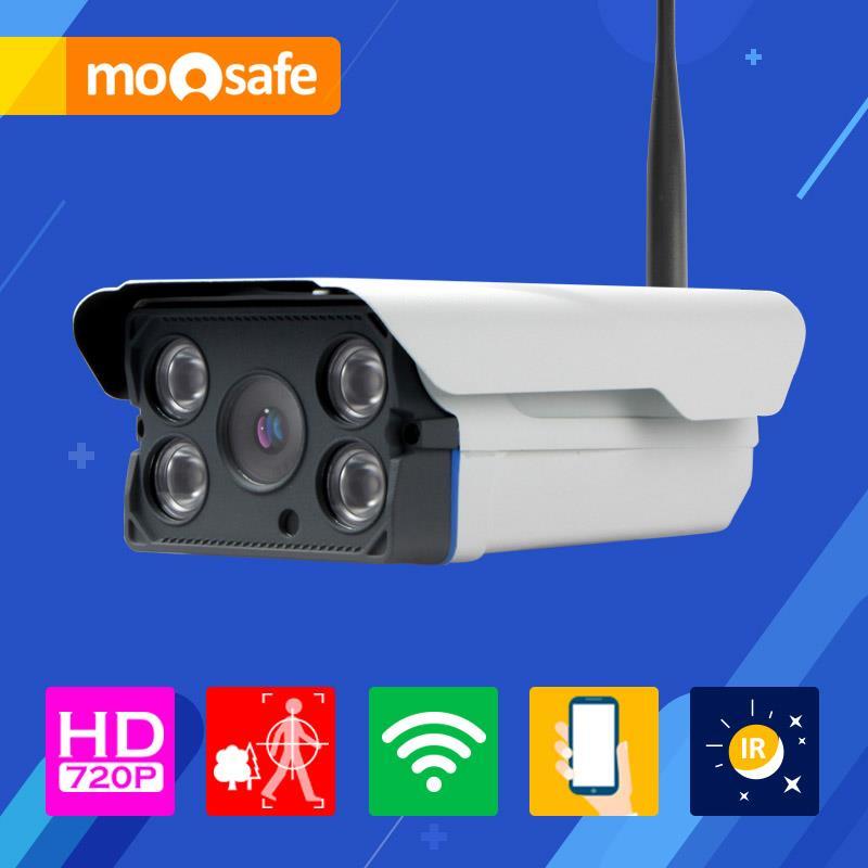 Mosafe 1mp wifi ip camera 1280*720P 802.11 b/g/n outdoor 4 pcs IR LED array night vision waterproof Onvif Surveillance Cameras(China (Mainland))