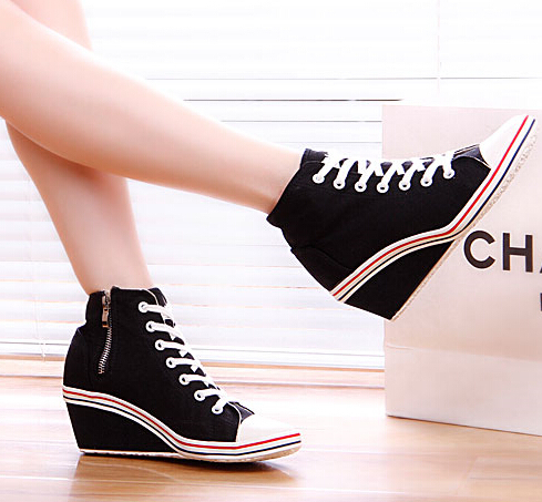2015 spring autumn breathable elevator canvas shoes height increasing 8cm wedges Sneakers lace-up polo women - Led Shoes store
