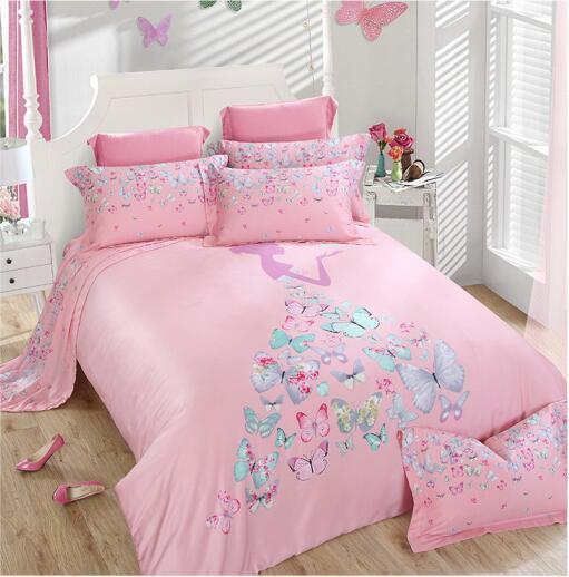 High quality 100% silk pink blue green butterfly princess girl home textile 4pcs comforter/duvet cover bedsheet bedding set/3535(China (Mainland))
