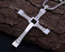 The fast and the furious 7 Dominic Toretto titanium steel cross pendant and necklace (100% titanium steel pendant necklace)(China (Mainland))