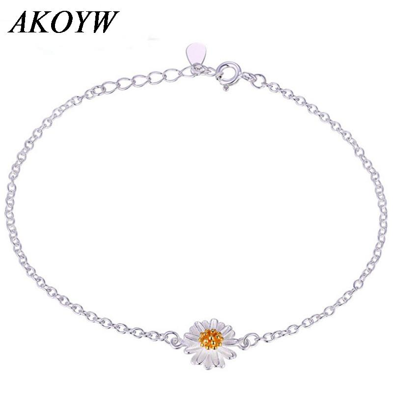 Gerbera daisies sterling silver bracelet fashion wild female Japanese and Korean jewelry silver jewelry wholesale supply(China (Mainland))