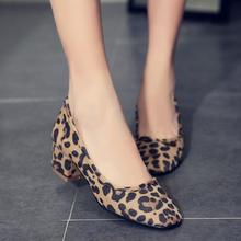 Korean Version Leopard Women Single Shoes Square Toe Nubuck Black Leisure Women Pumps Ladies Dress Shoes Basic Zapatos Mujers
