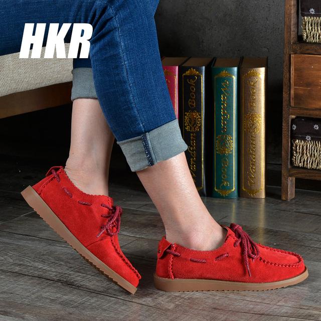 HKR 2016 весна женщин повседневная обувь из натуральной кожи квартиры обувь оксфорд ...