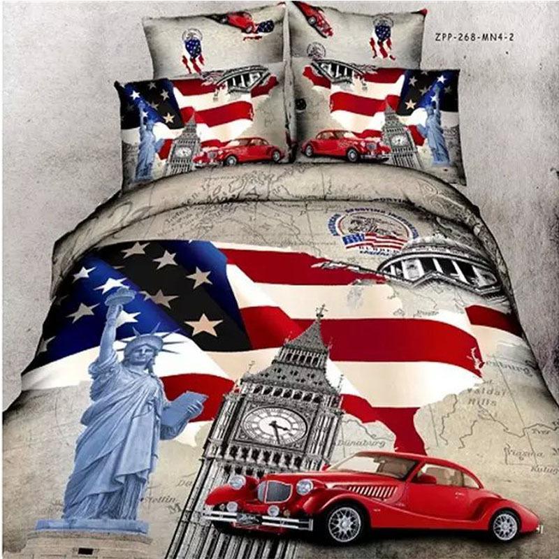 drapeau am ricain et statue de la libert voitures londres imprimer literie queen size coton. Black Bedroom Furniture Sets. Home Design Ideas