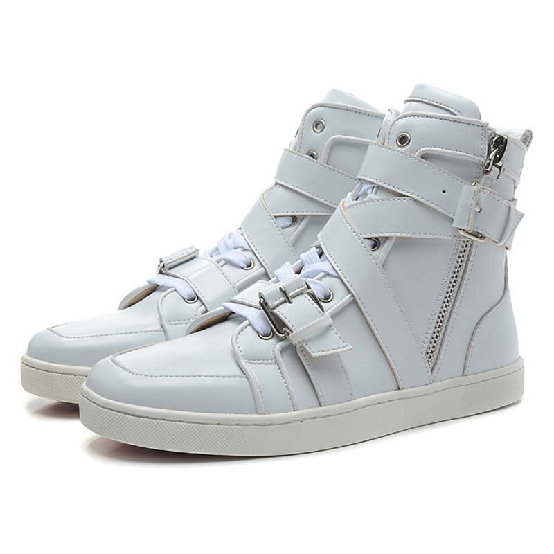 New Fashion Genuine Leather Black/Brown/White Casual Shoes for Men 2016 Spring Branded Luxury Strappy High Top Flat Shoes<br><br>Aliexpress