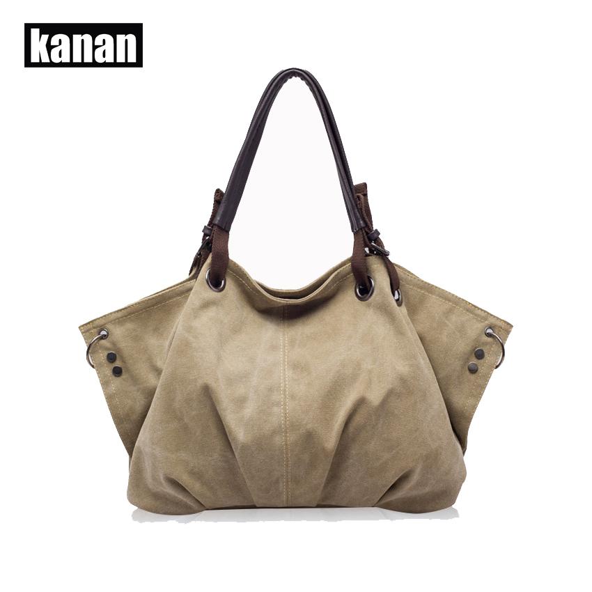 KANAN 2015 the new fashion casual bag the Hobos retro canvas bag and the large capacity female bag K420(China (Mainland))