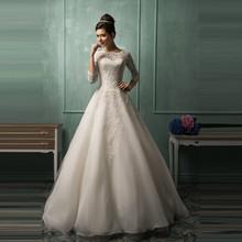 Elegant Long A-Line Lace Wedding Dress 2015 Scoop Neck 3/4 Sleeve Bridal Dress New Design Appliques Vestido De Noiva(China (Mainland))