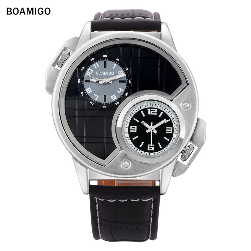 2016 BOAMIGO watches men luxury brand  fashion casual  sports watches Dual Time clock  Quartz Watch leather band wristwatches<br><br>Aliexpress