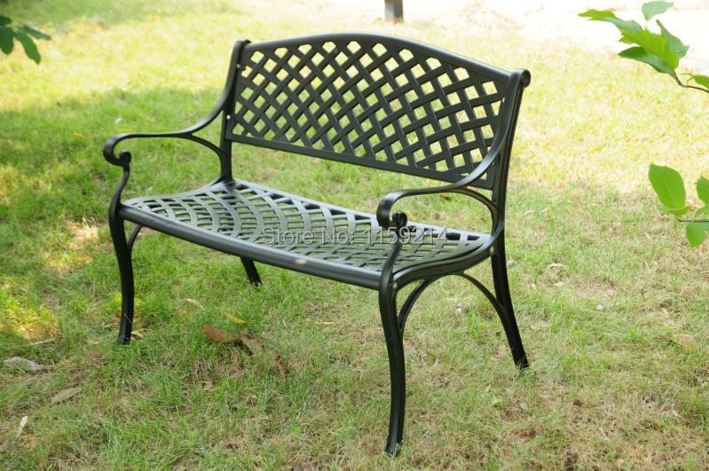 Double chair Balcony outdoor furniture Park garden bench-in Metal ...