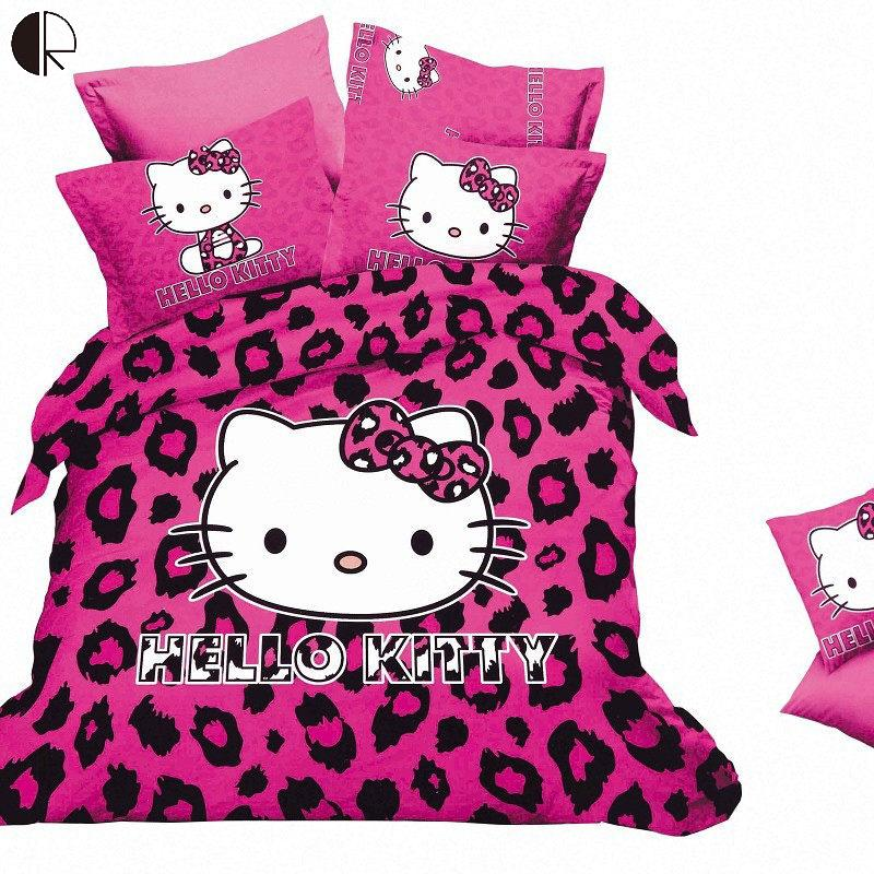 Free Shipping Hello Kitty Bedding Set Children kids Bed sheets Duvet Cover Linens Qulit Pillowcase set 1.5-1.8m bed 4pcs HBS105(China (Mainland))