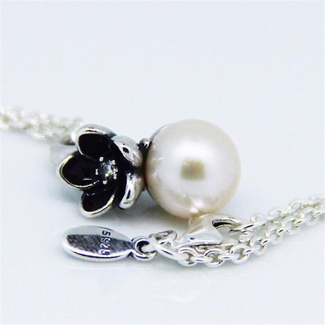 100% серебряных 925 цветочные с жемчужиной ожерелье сеть 45 см для женщин DIY подвески ювелирных изделий