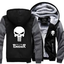 2016 New Winter Warm The Punisher Hoodies Anime skull Hooded Coat Thick Zipper men cardigan Jacket Sweatshirt