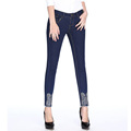 2016 Women Mid Waist Stretch Skinny Jeans with Embroidery and Tassel on the Bottom Slim Pencil