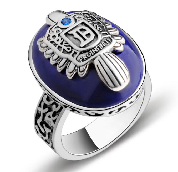 Customize letter initial men 39 s rings vampire diaries for Man made sapphire jewelry