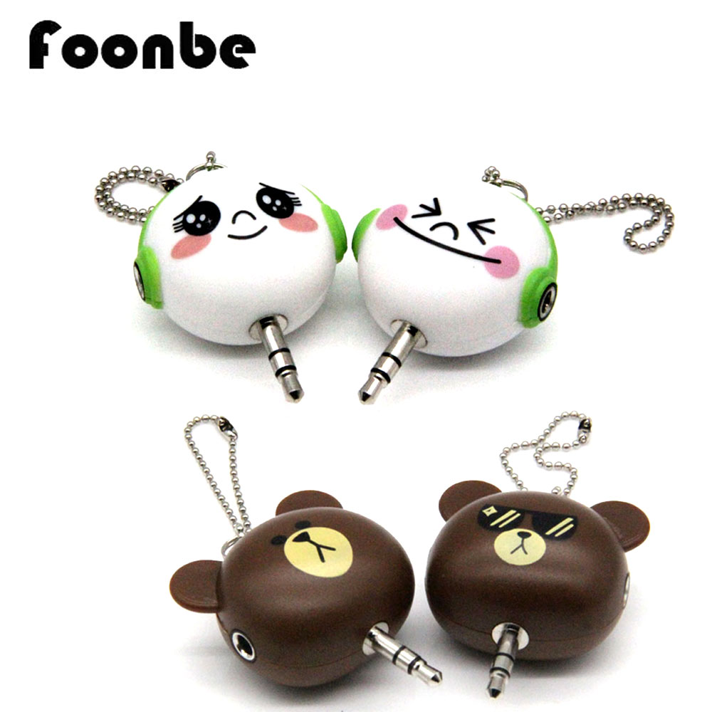 Cute Gift Universal 3.5mm Double Adapter to Earphone In-Ear Headphone for iPod iPhone Xiaomi Phone MP3 Player Splitter(China (Mainland))