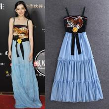 New Celebrity Style 2016 Spring Summer Sexy Strap Long Dress Women Cute Tiger Print Appliques Floral Spaghetti Strap Dress Club