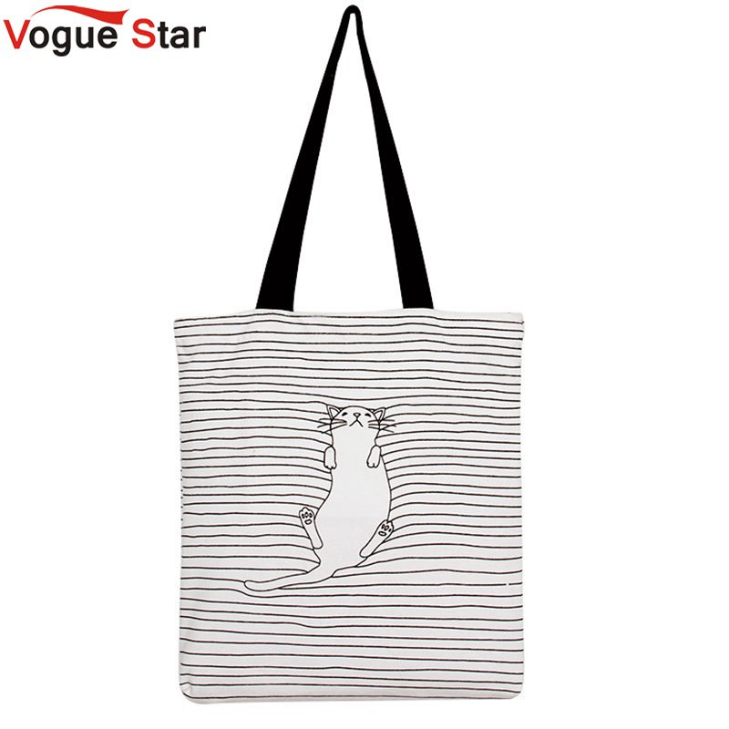 Vogue Star Cute Striped Napping Cat Cotton Canvas Handbags Daily Female Single Shoulder Shopping Bags Tote Women Beach Bags LA41(China (Mainland))