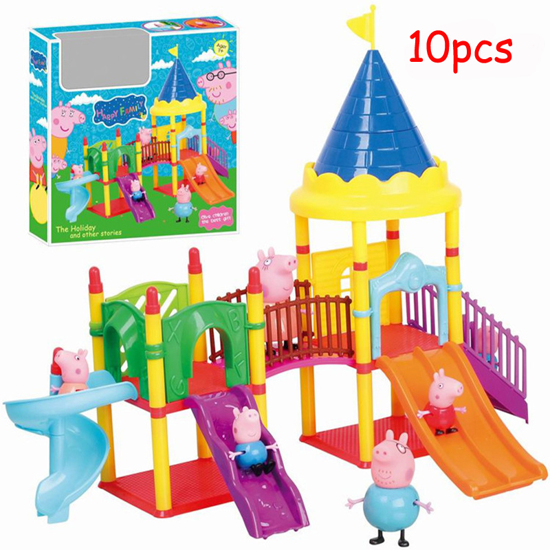 2016 Peppa Pig Amusement Park Set With 4pcs+6pcs Anime Pig Family Play Sets Toys Children's Best Toys Gift Juguetes(China (Mainland))