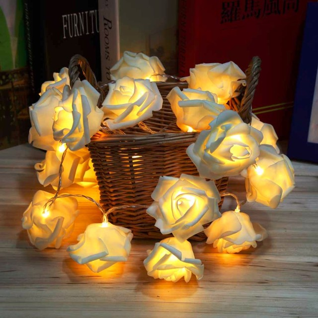Holiday Lighting 20LED Novelty Rose Flower String Lights Romantic Fairy Wedding Party Christmas Decoration