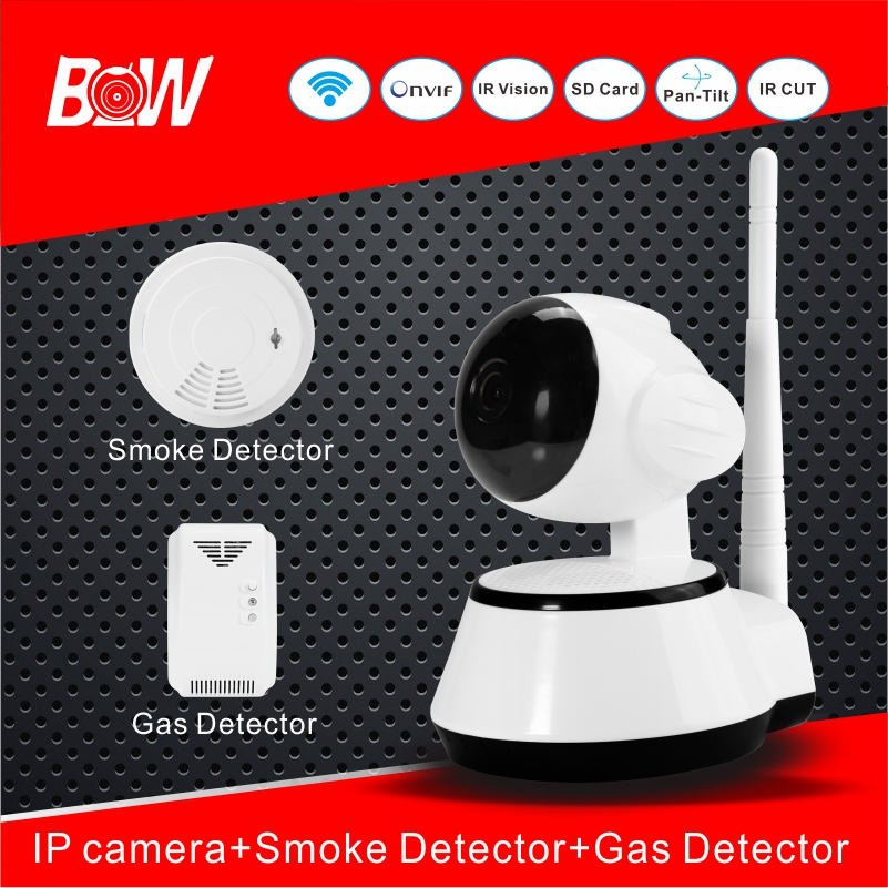 Hot Home Security Wifi Camera With Smoke Detector Gas Detector Infrared CCTV IP Cam Alarm System Android IOS App Control BWIPC14(China (Mainland))