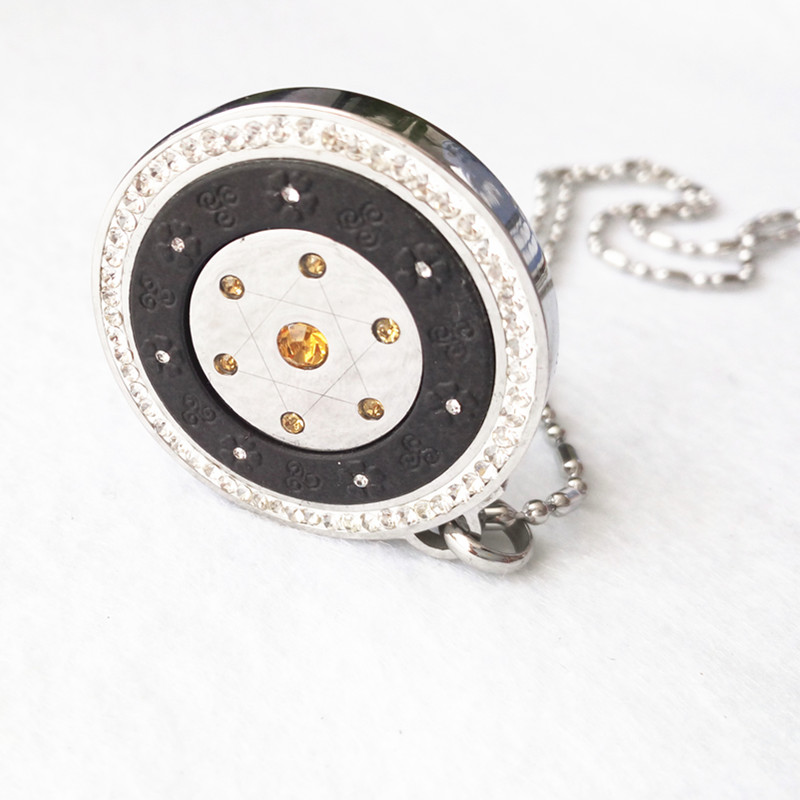 HQ Quantum Energy Pendant Lava Scalar Charms 4000CC Negative Ions With CZ Diamond & Stainless Steel Chain in Crystal Gift BOX(China (Mainland))